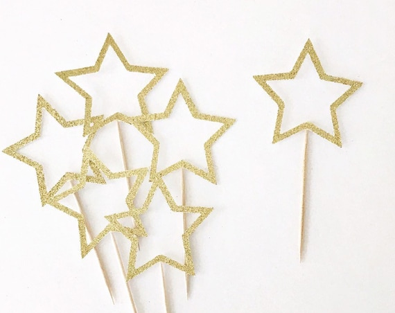 Glitter Star Cupcake Toppers / Star Outline / Twinkle Twinkle Little Star / Food Picks / Christmas Toppers / Baby Shower / First Birthday