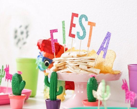 Fiesta Cake Topper / Fiesta Cupcake Toppers / Fiesta Decorations / First Fiesta Birthday Party / Cinco De Mayo Decor / Fiesta Party Decor