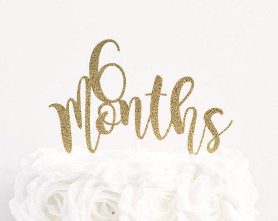 6 Months Cake Topper / 6 Month Birthday / Half Birthday Cake Topper / Cake Smash / 1/2 Birthday Photo Shoot / Six Month Milestone