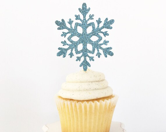 Snowflake Cupcake Toppers / Little Snowflake Baby Shower / Winter Wonderland Bridal Shower / Winter Onederland First Birthday