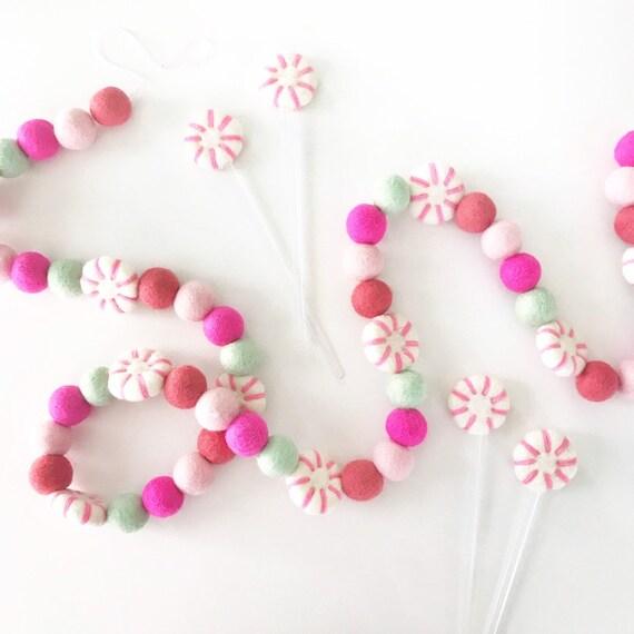 Pink Peppermint Felt Ball Garland | Christmas Garland | Pom Pom Garland | Felt Peppermints | Pink Felt Ball Garland | Woolie Ball Garland