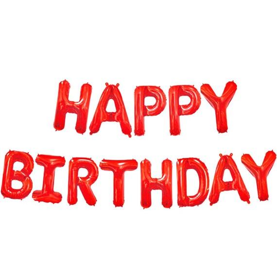 Red Happy Birthday Balloons | 16 Inch Birthday Balloon Letters | Birthday Balloon Garland | Birthday Balloon Banner