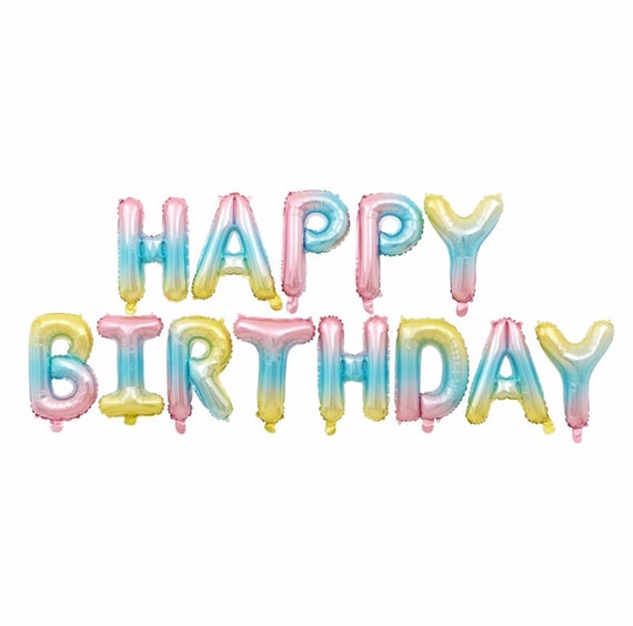 Pastel Ombré Rainbow Happy Birthday Balloons | 16 Inch Birthday Balloon Letters | Birthday Balloon Garland | Birthday Balloon Banner