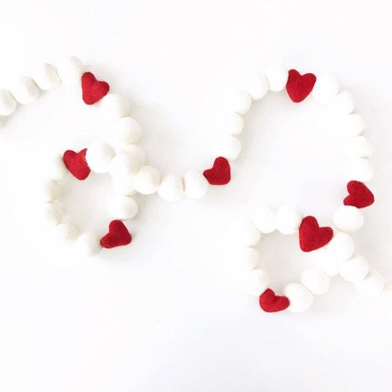 Valentine's Day Felt Ball Garland | Valentine's Decorations | Pom Pom Garland | Felt Heart Garland | Heart Banner | Galentine's Day