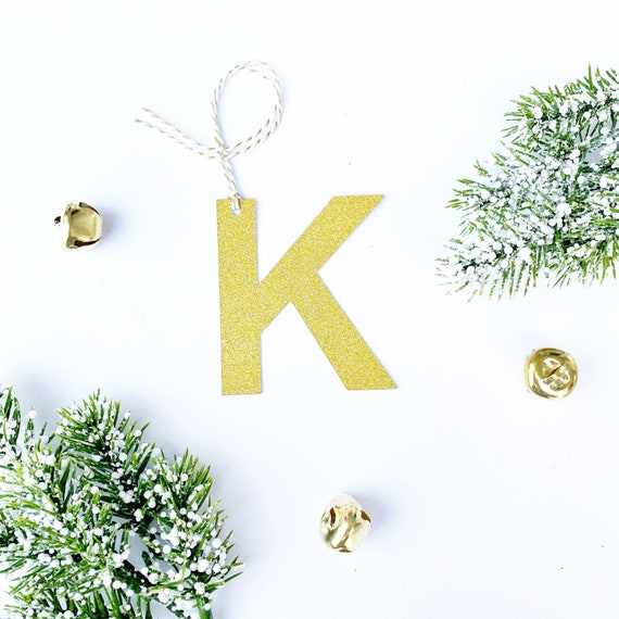 Gold Glitter Letter Tags | Custom Alphabet Glitter Tag | Glitter Gift Tag | Custom Name Ornament | Stocking Tags | Initial Tags