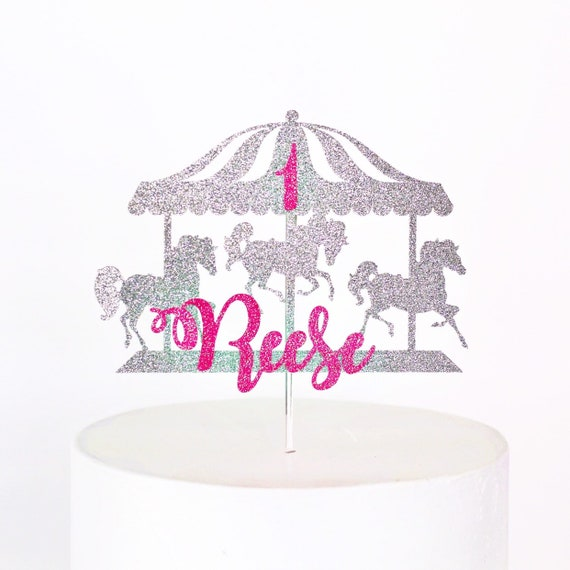 Carousel Cake Topper / Custom Cake Topper / Custom Name / Personalized Cake Topper / First Birthday / Little Girl Birthday Party Decor
