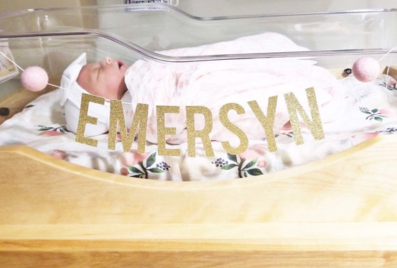 Custom Name Baby Bassinet Banner with Felt Balls