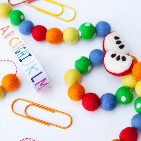 Back To School Apple Felt Ball Garland