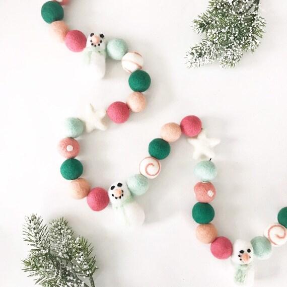 Snowman Felt Ball Garland | Felt Snowmen | Christmas Felt Ball Garland | Pom Pom Garland | Let it Snow | Snow Much Fun | Christmas Banner