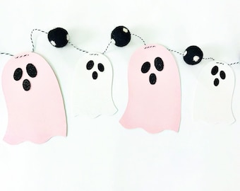 Pink and White Ghost Banner   Halloween Banner   Ghost Garland   Halloween Garland   Felt Ball Garland   Pom Pom Garland   Spooky Banner