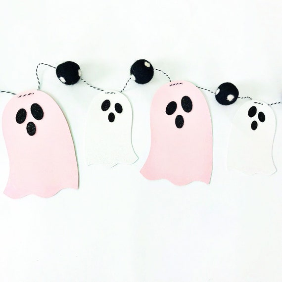 Pink and White Ghost Banner | Halloween Banner | Ghost Garland | Halloween Garland | Felt Ball Garland | Pom Pom Garland | Spooky Banner