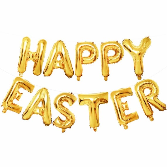 Gold Happy Easter Balloons | Easter Decorations | Easter Bunny Balloons | 16 Inch Foil Letter Balloons | Spring Balloons | Easter Banner