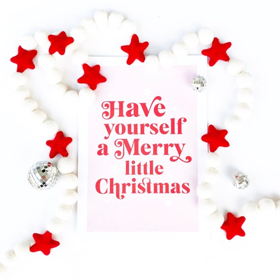 Christmas Star Garland | White Balls with Red Stars | Christmas Felt Ball Garland | Red and White Decorations | Felt Star Garland