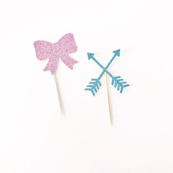 Bows or Arrows Cupcake Toppers / Boy or Girl / Gender Reveal Party / He or She / Blue or Pink / Gender Reveal Decorations / Cake Toppers