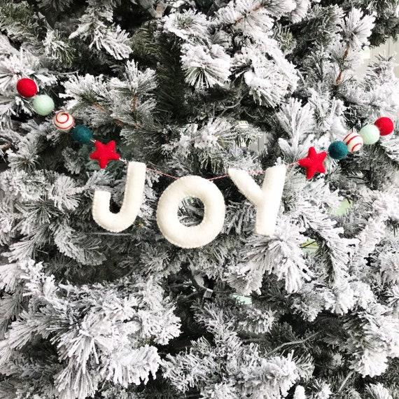 Joy Banner | Felt Letter Banner | Christmas Banner | Christmas Garland | Pom Pom Garland