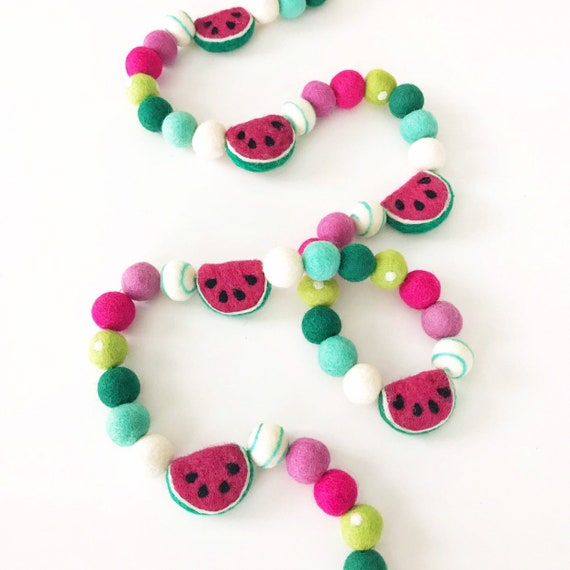 Watermelon Felt Ball Garland