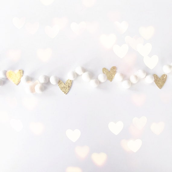 Valentine's Day Felt Ball Garland | Pom Pom Garland | Gold Heart Garland | Valentine's Day Decorations | Glitter Heart Garland | Banner