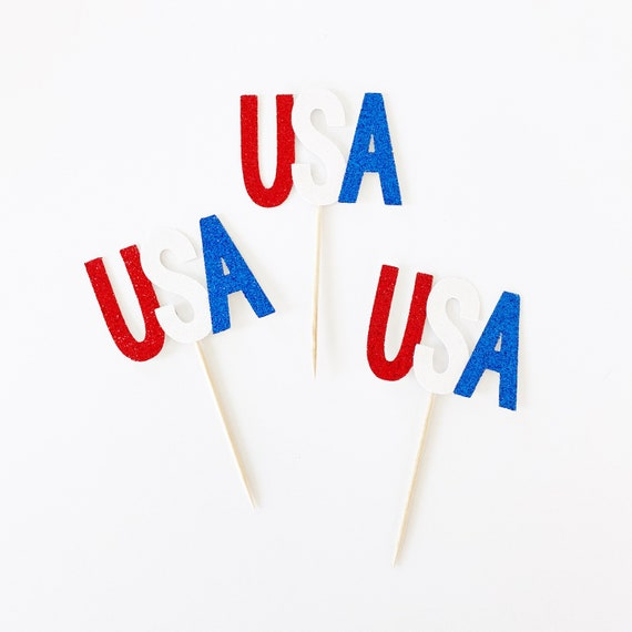 USA Cupcake Toppers | 4th of July Cupcake Toppers | Red White & Blue | Independence Day | Memorial Day | Labor Day