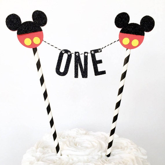Pleasant Mickey Mouse First Birthday Cake Topper Mickey Mouse Cake Etsy Personalised Birthday Cards Bromeletsinfo