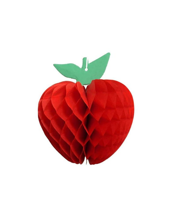 Honeycomb Apple Decoration | Classroom Decorations | Apple Banner | First Day of School Banner | 1st Day of School Decor | Hanging Apple