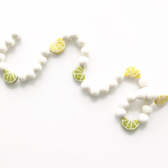 Lemon and Lime Felt Ball Garland | Summer Garland | Citrus Garland | Pom Pom Garland | Felt Lemon Garland | Felt Limes | Kitchen Decorations