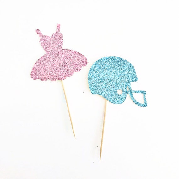 Tutus or Touchdowns Gender Reveal Cupcake Toppers