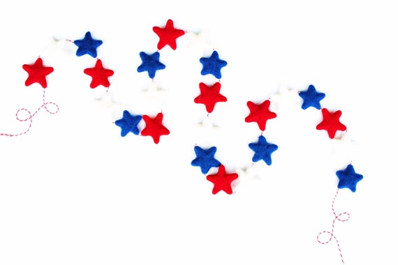 Red White and Blue Felt Star Garland |  4th of July Garland | Fourth of July Pom Pom Garland | USA Banner | Memorial Day Garland | America