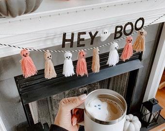 Hey Boo Banner with Felt Ghost   Halloween Banner   Halloween Decorations   Felt Ghosts   Ghost Banner   Ghost Garland