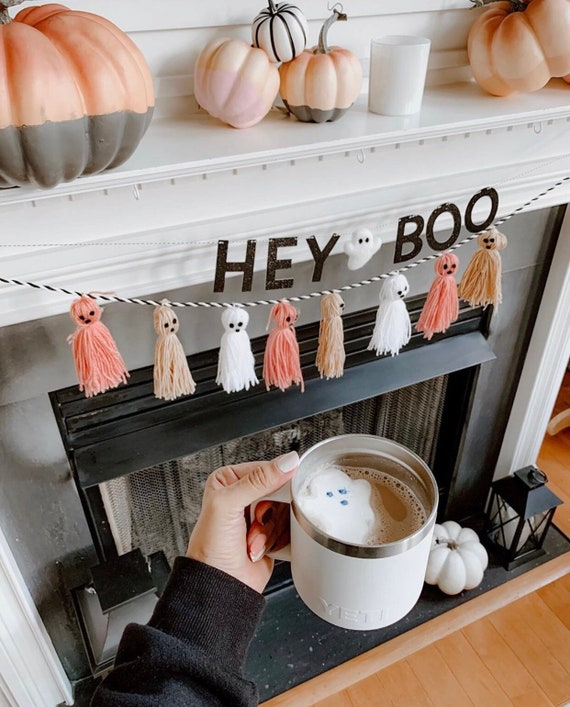 Hey Boo Banner with Felt Ghost