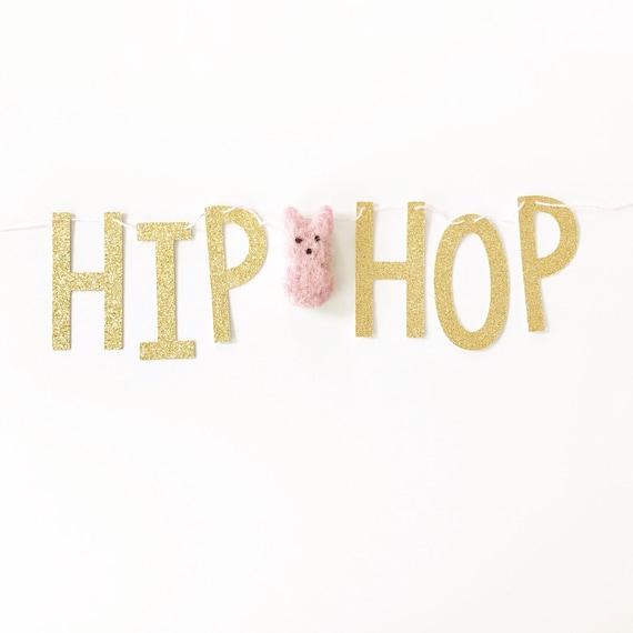 Hip Hop Banner | Easter Banner | Easter Bunny Banner | Easter Decorations | Spring Banner | Felt Bunny Peeps | Felt Bunny Garland