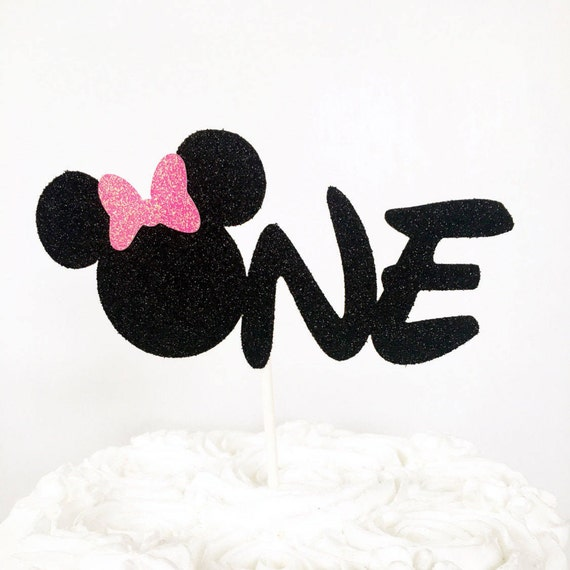 Pleasant Minnie Mouse One Cake Topper First Birthday Cake Topper Etsy Funny Birthday Cards Online Inifodamsfinfo