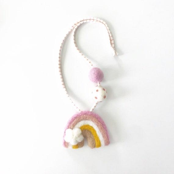 Felt Rainbow Necklace | Felt Ball Necklace | Pom Pom Necklace | Felt Rainbows | Easter Basket Ideas | Girl Gift Ideas