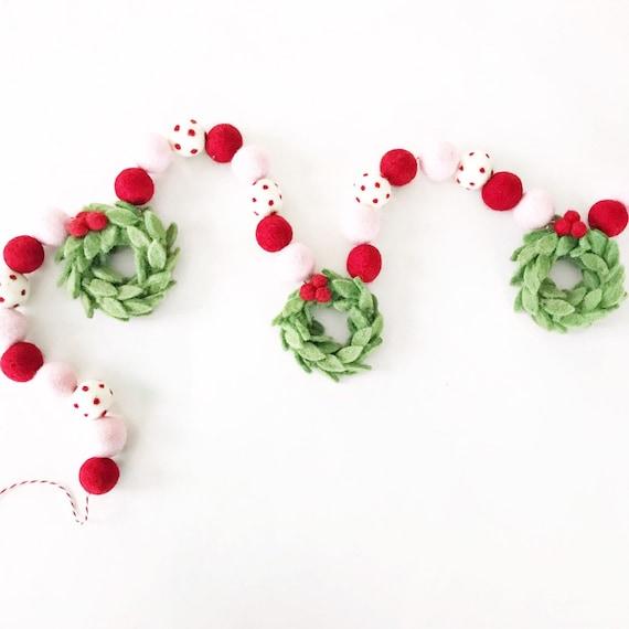Christmas Felt Ball Garland with Felt Wreaths | Christmas Decorations | Christmas Sign | Pom Pom Garland | Woolie Ball Garland