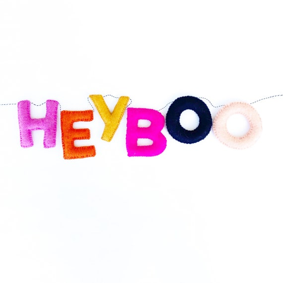 Hey Boo Felt Banner | Halloween Banner | Halloween Sign | Halloween Decorations | Felt Ball Garland | Felt Banner | Happy Halloween