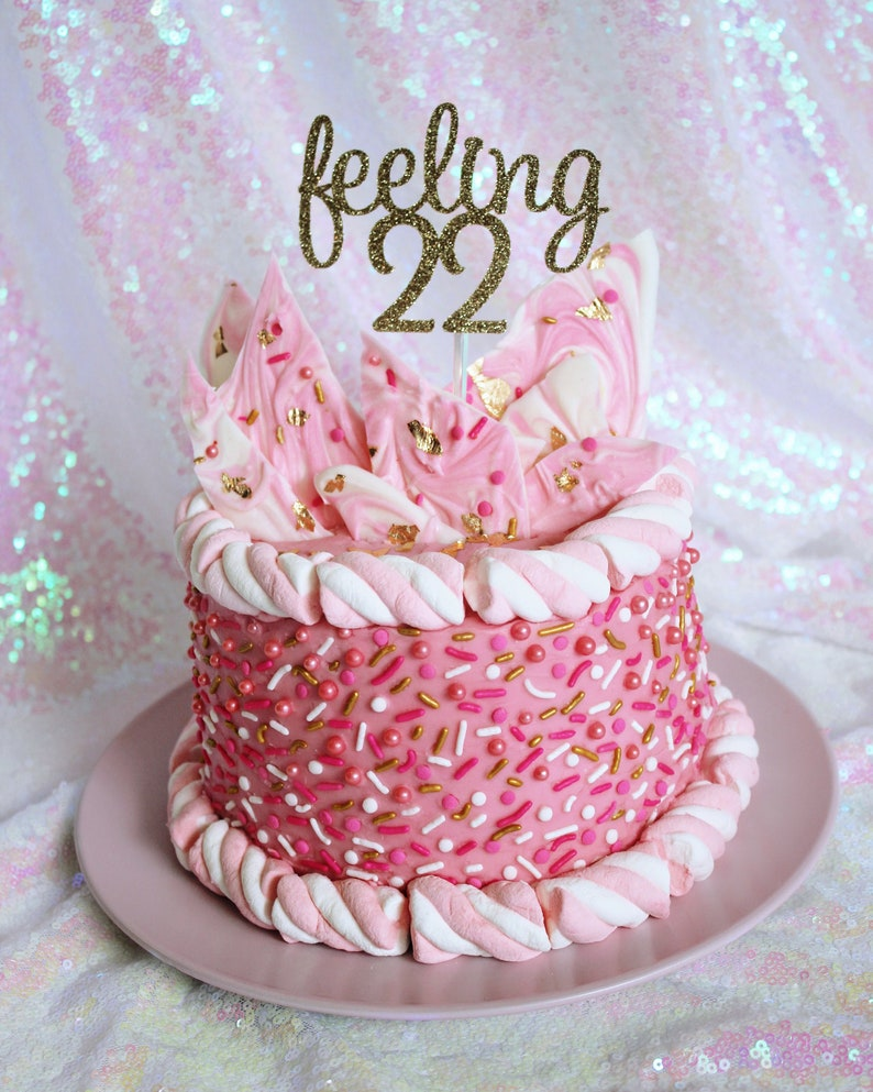 Feeling 22 Cake Topper 22nd Birthday Party Twenty Two