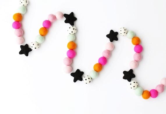 Halloween Felt Ball Garland with Felt Stars | Halloween Decorations | Pom Pom Garland | Woolie Ball Garland | Halloween Home Decor