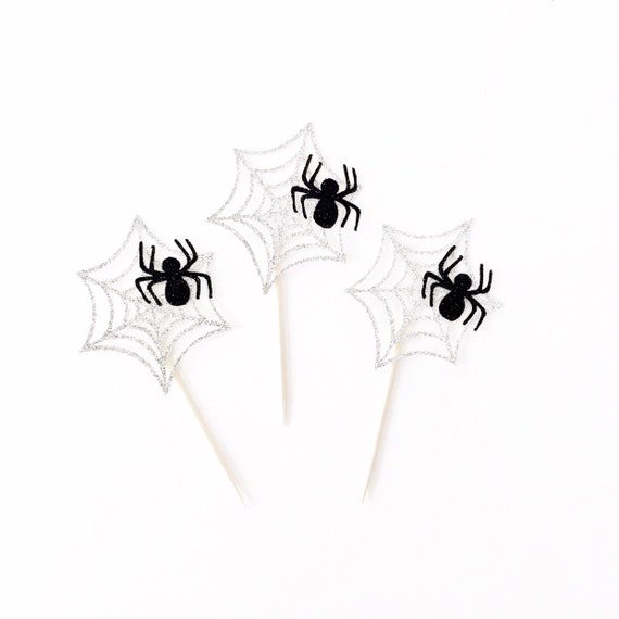 Spider Web Cupcake Toppers | Halloween Cupcake Toppers | Halloween Decorations | Halloween Party | Spider Decorations | Spooky | Eek | Boo
