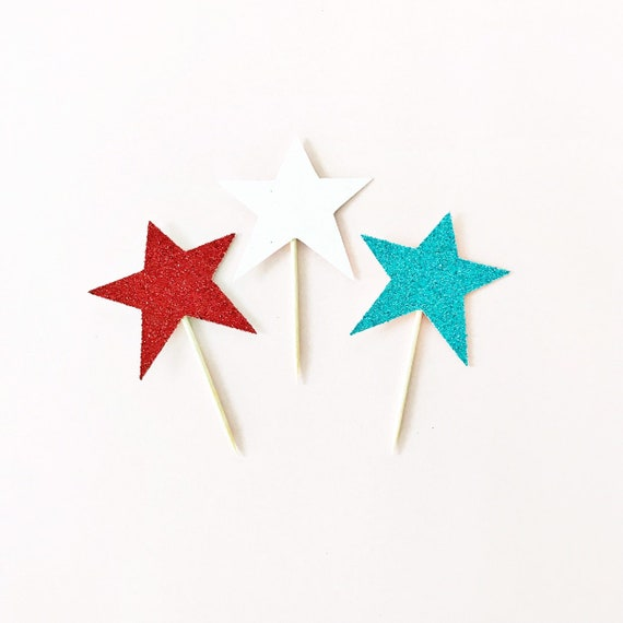 Red, White, and Blue Star Cupcake Toppers