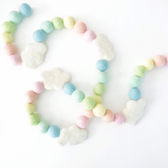 Pastel Rainbow Felt Ball Garland