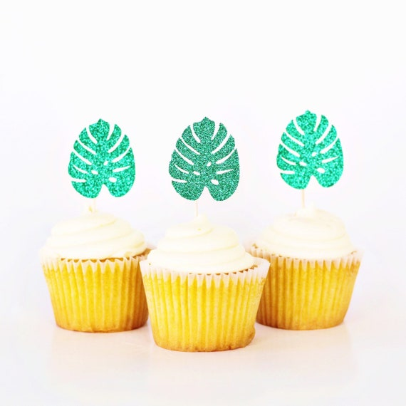 Monstera Leaf Cupcake Toppers / Tropical Cupcake Toppers / Aloha / Tropical Leaf / Hawaiian / Luau Cupcakes / Life's A Beach / Jungle Theme