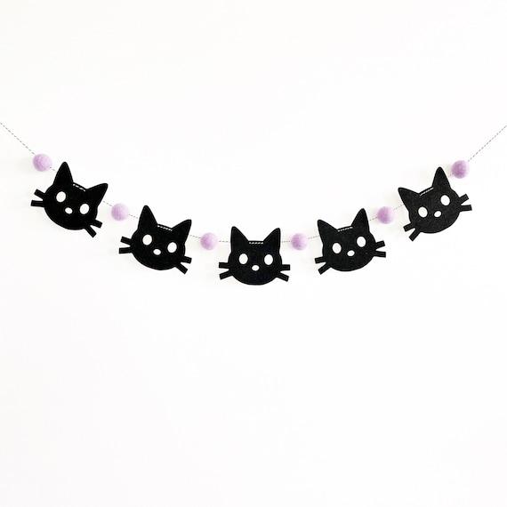 Black Cat Garland | Halloween Decorations | Black Cat Banner | Cat Birthday | Cat Party | Halloween Banner | Halloween Felt Ball Garland