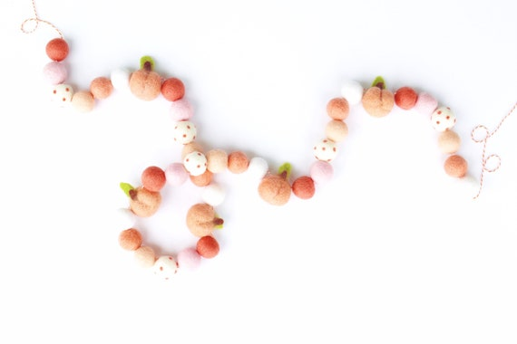 Peach Felt Ball Garland | Felt Peaches | Sweet as a Peach 1st Birthday | Sweet One First Birthday | Peachy | Georgia Peach | Pom Pom Garland