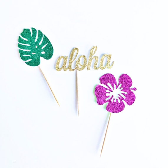 Hawaiian Cupcake Toppers / Luau Cupcake Toppers / Tropical Cupcake Toppers / Hibiscus Flower / Monstera Leaf / Aloha