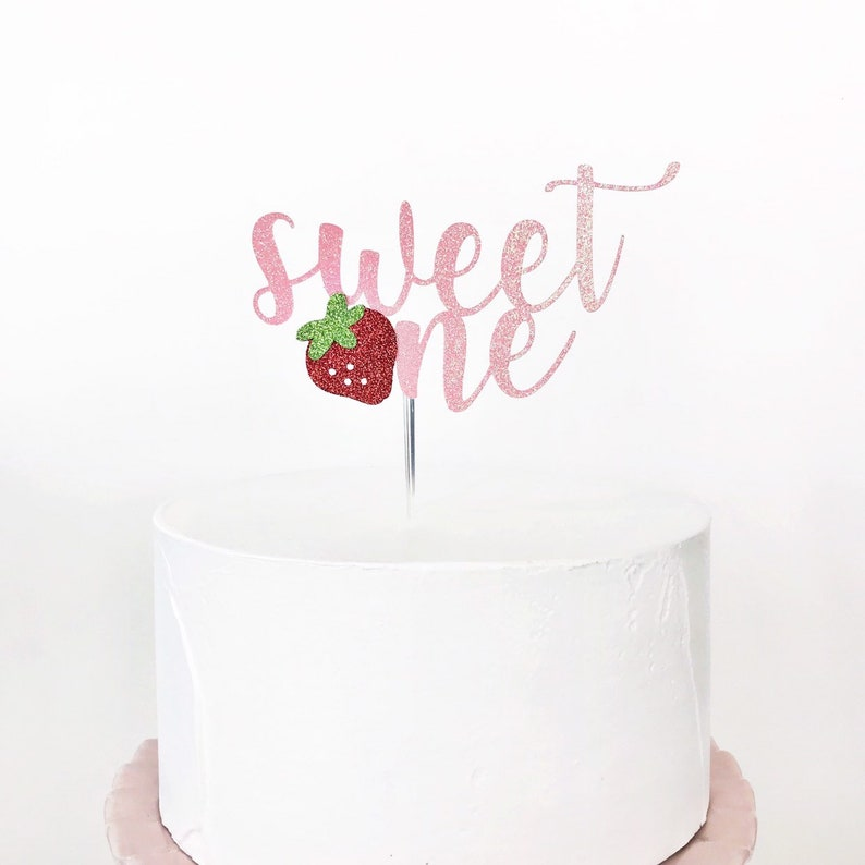 Strawberry Decorations Sweet One Cake Topper Strawberry 1st Birthday Berry Sweet Cake Topper Smash Cake Topper One Cake Topper