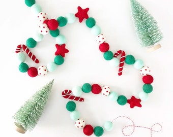 Christmas Felt Ball Garland | Candy Cane Garland | Felt Candy Canes | Christmas Tree Garland | Red and Green Christmas Decorations