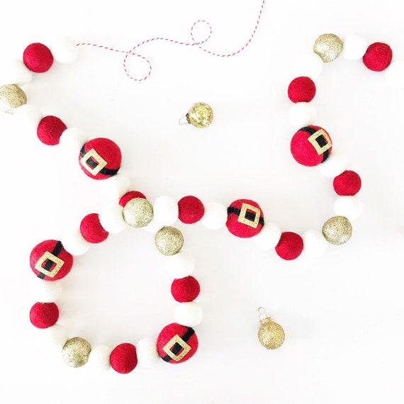 Santa Claus Christmas Felt Ball Garland