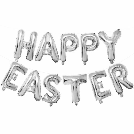 Silver Happy Easter Balloons | Easter Decorations | Easter Bunny Balloons | 16 Inch Foil Letter Balloons | Spring Balloons | Easter Banner