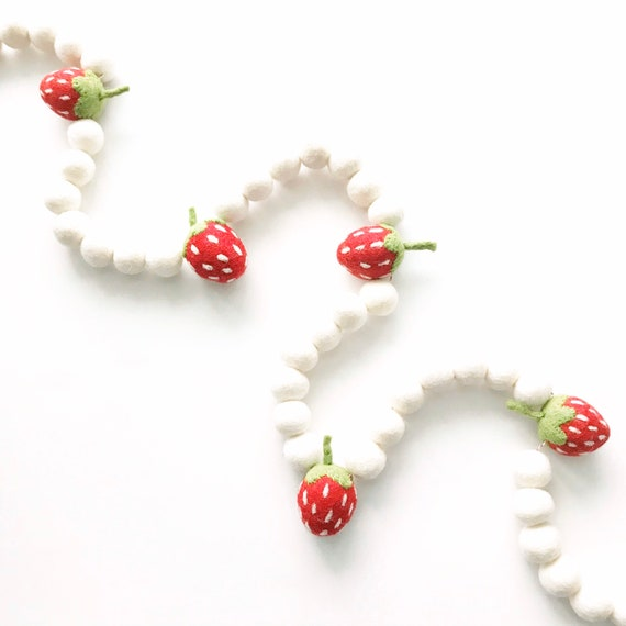 Strawberry Felt Ball Garland | Strawberry Party Decor | Felt Strawberries | Strawberry Banner | Berry Sweet | Strawberry Pom Pom Garland