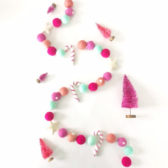 Pink Christmas Garland | Pink Candy Cane Garland | Christmas Decorations | Christmas Banner | Felt Ball Garland | Pom Pom Garland