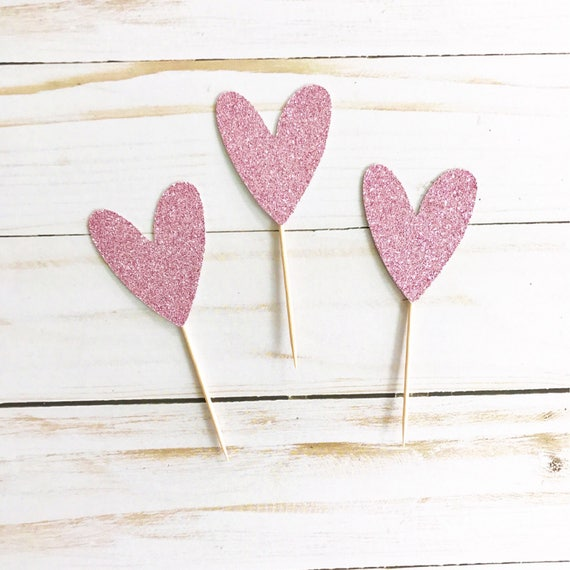 Heart Cupcake Toppers / Bridal Shower Cupcake Toppers / Engagement Party Decor / Bachelorette / Wedding / Bridal Shower Decor / Bride To Be
